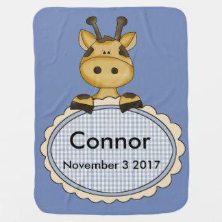 Cobertor De Bebe O girafa personalizado de Connor