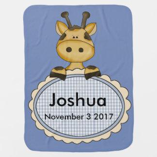 Cobertor De Bebe O girafa personalizado de Joshua