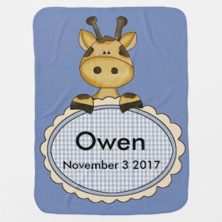 Cobertor De Bebe O girafa personalizado de Owen