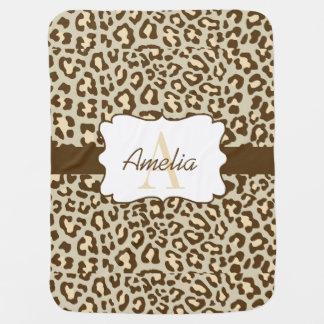 Cobertor De Bebe O pêssego de Brown Tan do impressão do leopardo