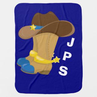 Cobertor De Bebe Ocidental azul do chapéu das botas de vaqueiro do