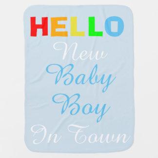 Cobertor De Bebe Olá! bebé novo na cobertura azul da cidade