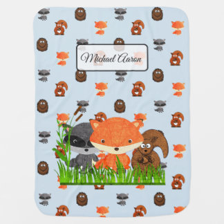 Cobertor De Bebe Os animais da floresta personalizaram a cobertura