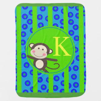 Cobertor De Bebe Os miúdos bonitos brincam o verde azul do
