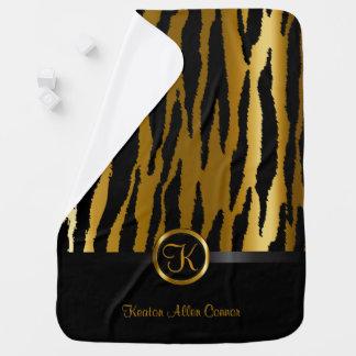 Cobertor De Bebe Ouro escuro e teste padrão preto das listras da