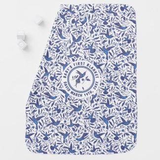 Cobertor De Bebe Pássaros azuis feitos sob encomenda do zumbido de