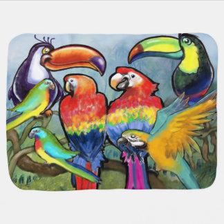 Cobertor De Bebe Pássaros tropicais
