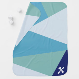 Cobertor De Bebe Pastel geométrico elegante dos azuis marinhos e do