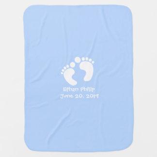 Cobertor De Bebe Pegadas bonitos do bebê personalizadas data de