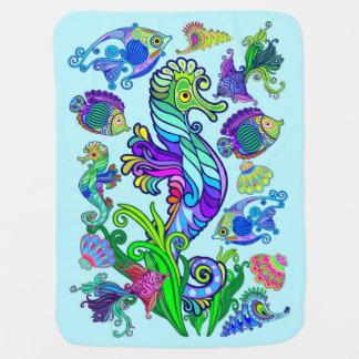 Cobertor De Bebe Peixes exóticos & cavalos marinhos da vida marinha