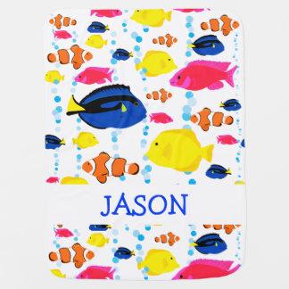 Cobertor De Bebe Peixes tropicais coloridos personalizados bonitos