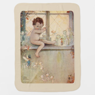 Cobertor De Bebe Peter Pan na janela - fadas - fundo bege