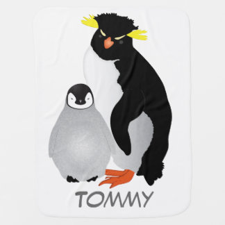Cobertor De Bebe Pinguim Monogrammed das mamães & do bebê