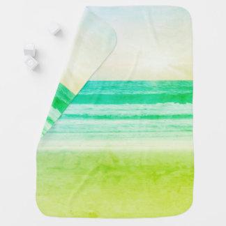 Cobertor De Bebe por do sol do aqua do verde limão que recebe