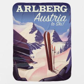 Cobertor De Bebe Poster de viagens do esqui de Arlberg Áustria
