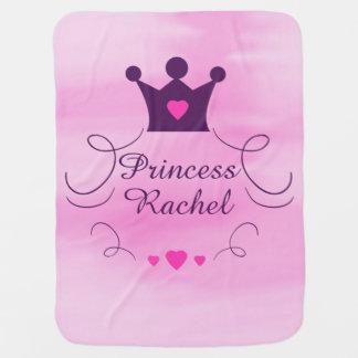 Cobertor De Bebe Princesa cor-de-rosa Coroa Tiara Direitos Coração