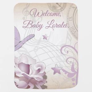 Cobertor De Bebe Pulsos de disparo malva da música da borboleta da