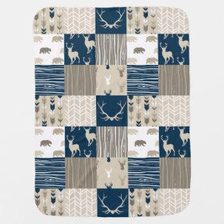 Cobertor De Bebe Retalhos da floresta no marinho e no Tan
