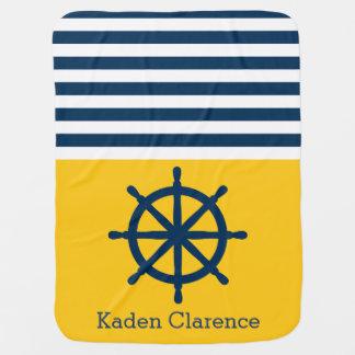 Cobertor De Bebe Roda náutica do navio com amarelo e listras do
