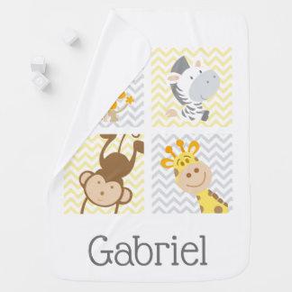 Cobertor De Bebe Safari cinzento amarelo de Chevron & animais da