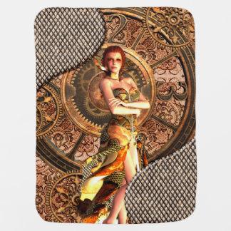 Cobertor De Bebe Steampunk, mulheres bonitas do vapor com pulsos de