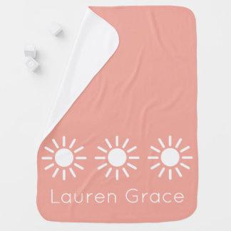 Cobertor De Bebe Sunbursts do rosa e do branco de bebê do vintage