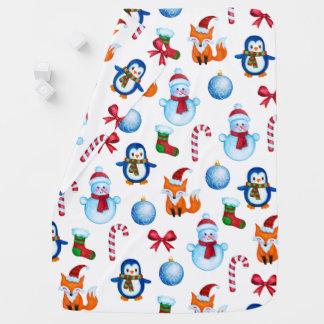 Cobertor De Bebe Teste padrão bonito do Natal da aguarela
