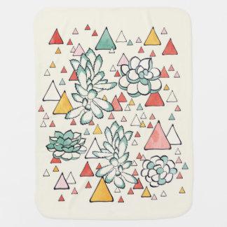 Cobertor De Bebe Teste padrão do Succulent e dos triângulos