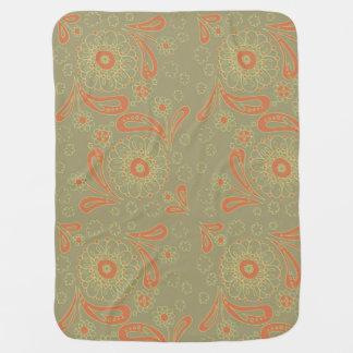 Cobertor De Bebe Teste padrão floral da mandala verde e alaranjada