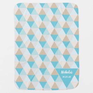 Cobertor De Bebe Teste padrão geométrico azul do triângulo do Aqua