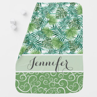 Cobertor De Bebe Teste padrão verde tropical anca retro feito sob