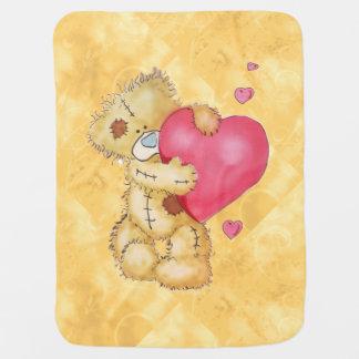 Cobertor De Bebe Urso bonito com corações