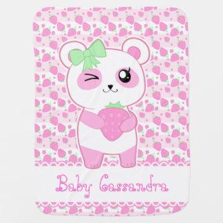 Cobertor De Bebe Urso de panda bonito de Kawaii do rosa da morango