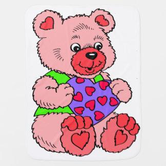 Cobertor De Bebe Urso de ursinho cor-de-rosa colorido