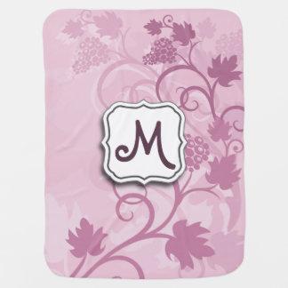 Cobertor De Bebe Uvas florais e monograma da lavanda do redemoinho