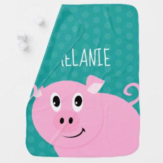 Cobertor De Bebe Verde animal personalizado porco do babador do