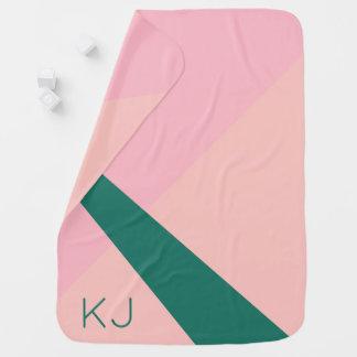 Cobertor De Bebe Verde geométrico elegante do pêssego do rosa