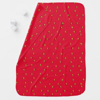 Cobertor De Bebe Vermelho engraçado do fundo da morango