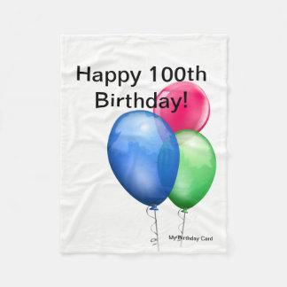 Cobertor De Velo 100th Cartão da cobertura do velo do aniversário