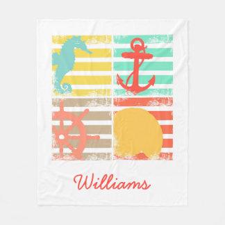 Cobertor De Velo 4 quadrados do design do oceano com listras
