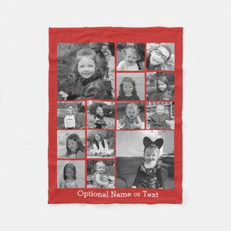 Cobertor De Velo A colagem de 14 fotos PODE texto opcional da COR