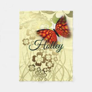 Cobertor De Velo A grande borboleta com as flores em Tan