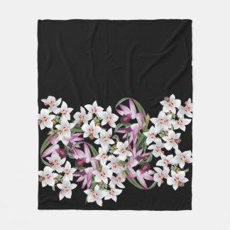 Cobertor De Velo A orquídea branca tropical floresce a cobertura do
