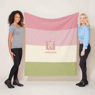 Cobertor De Velo A paleta de cores do verde do rosa do creme listra