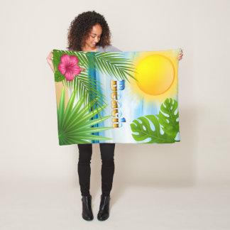 Cobertor De Velo A vida bonita é um design tropical da praia