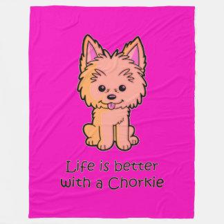 Cobertor De Velo A vida é melhor com um Chorkie