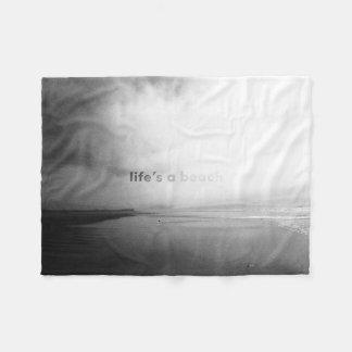 Cobertor De Velo A vida é uma praia - foto tipográfica preto e