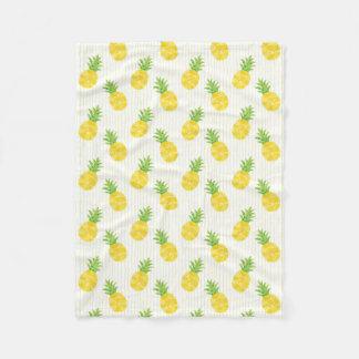 Cobertor De Velo Abacaxis e listras tropicais