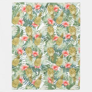Cobertor De Velo Abacaxis tropicais do ouro do hibiscus florais