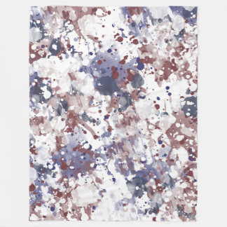 Cobertor De Velo Abstrato azul branco vermelho da aguarela